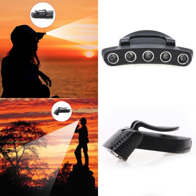 5 x LED Clip Cap Lamp Hiking Riding CampingHeadlights<br>5 x LED Clip Cap Lamp Hiking Riding Camping<br><br>Available Light Color: White<br>Battery Quantity: 2 x CR2032 battery (included)<br>Battery Type: Other<br>Beam Distance: 50-100m<br>Body Material: ABS<br>Color: Black<br>Emitters Quantity: 5<br>Feature: Can be used as headlamp or bicycle light<br>Function: Camping<br>Luminous Flux: 1<br>Main Emitters: Other<br>Mode: 1 (ON/OFF)<br>Package Contents: 1 x LED Clip Cap Light, 2 x CR2032 Battery<br>Package size (L x W x H): 19.00 x 14.00 x 19.00 cm / 7.48 x 5.51 x 7.48 inches<br>Package weight: 0.8000 kg<br>Power Source: Battery<br>Product size (L x W x H): 18.00 x 13.00 x 18.00 cm / 7.09 x 5.12 x 7.09 inches<br>Product weight: 0.0600 kg<br>Switch Type: Clicky<br>Working Time: 6h