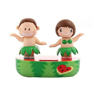 Solar Hand-shaking Cartoon Couple Creative Decoration for Car / Desk