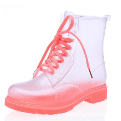 Transparent Candy Color Women Lace-Up Rain BootsFootwear<br>Transparent Candy Color Women Lace-Up Rain Boots<br><br>Features: Anti-slip,Water Resistant<br>Size: 37,38,39,40<br>Gender: Women<br>Season: Autumn,Spring,Summer<br>Closure Type: Lace-Up<br>Sole Material: Rubber<br>Upper Height: Middle<br>Color: Green,Pink<br>Product weight: 1.200 kg<br>Package weight: 1.300 kg<br>Package size: 45.00 x 25.00 x 6.00 cm / 17.72 x 9.84 x 2.36 inches<br>Package Contents: 1 x Pair of Rain Boots