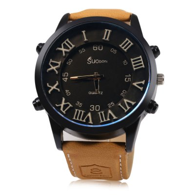 SUOboni A7114 Casual Style Big Stereo Dial Men Quartz WatchMens Watches<br>SUOboni A7114 Casual Style Big Stereo Dial Men Quartz Watch<br><br>Brand: Suoboni<br>Watches categories: Male table<br>Watch style: Casual<br>Available color: Coffee<br>Movement type: Quartz watch<br>Shape of the dial: Round<br>Display type: Analog<br>Case material: Stainless Steel<br>Band material: Leather<br>Clasp type: Pin buckle<br>Dial size: 5 x 5 x 1.3 cm / 1.97 x 1.97 x 0.51 inches<br>Band size: 25.5 x 2.6 cm / 10.04 x 1.02 inches<br>Wearable length: 19 - 22.5 cm / 7.48 - 8.86 inches<br>Product weight: 0.063 kg<br>Package weight: 0.078 kg<br>Product size (L x W x H): 25.50 x 5.00 x 1.30 cm / 10.04 x 1.97 x 0.51 inches<br>Package size (L x W x H): 26.50 x 6.00 x 2.30 cm / 10.43 x 2.36 x 0.91 inches<br>Package Contents: 1 x SUOboni A7114 Casual Style Men Quartz Watch