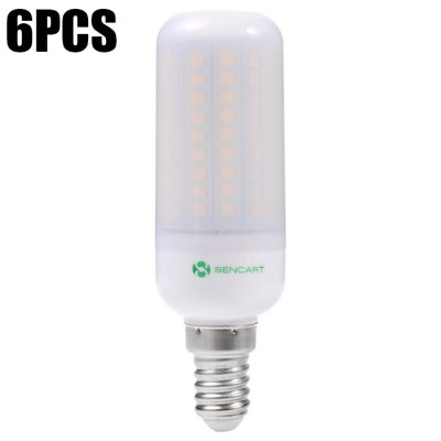 6pcs Sencart E14 12W 102 x SMD2835 1200LM Frosted LED Corn Light Lamp