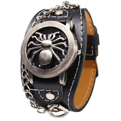 Casual Style Black Spider Emboss Flip Male Quartz Watch