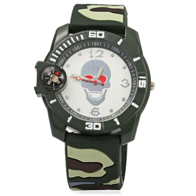 Camouflage Skull Male Quartz Watch with Compass