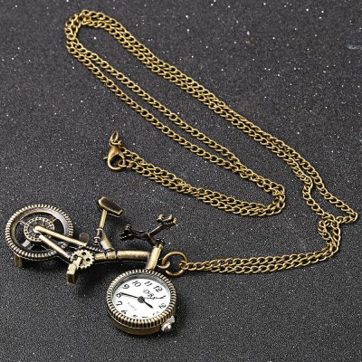Bicycle Simulation Model Quartz Pocket WatchPocket Watches<br>Bicycle Simulation Model Quartz Pocket Watch<br><br>Watches categories: Female table<br>Watch style: Casual<br>Available color: Copper Color<br>Movement type: Quartz watch<br>Shape of the dial: Round<br>Display type: Analog<br>Case material: Stainless Steel<br>Band material: Stainless Steel<br>Clasp type: Hidden clasp<br>Dial size: 2 x 2 x 0.8 cm / 0.79 x 0.79 x 0.31 inches<br>Band size: 46 x 0.5 cm / 18.11 x 0.2 inches<br>Product weight: 0.028 kg<br>Package weight: 0.062 kg<br>Product size (L x W x H): 46.00 x 4.00 x 2.20 cm / 18.11 x 1.57 x 0.87 inches<br>Package size (L x W x H): 7.50 x 5.00 x 3.20 cm / 2.95 x 1.97 x 1.26 inches<br>Package Contents: 1 x Quartz Pocket Watch