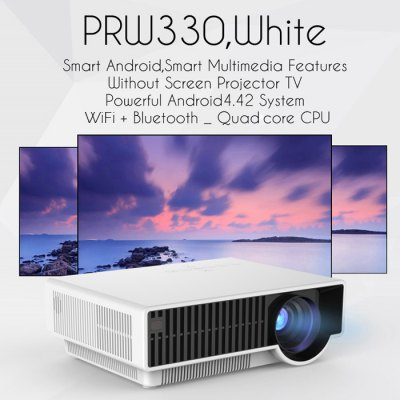PRW330 LCD Projector Android 4.4Projectors<br>PRW330 LCD Projector Android 4.4<br><br>Model: PRW330<br>Display type: LCD<br>Native Resolution: 1280 x 800<br>Resolution Support: 1080P<br>Brightness: 2800 Lumens<br>Contrast Ratio: 3000:1<br>Projection Distance: 1.2 - 7.5M<br>Image Size: 28 - 280 inch<br>Image Scale: 16:9<br>Lamp: LED<br>Interface: Audio Out Port,AV,HDMI,USB,VGA,YPbPr<br>WIFI: 802.11b/g/n<br>Bluetooth: Bluetooth 4.0<br>Picture Formats: JPG / JPEG / BMP / GIF / PNG / GIF<br>Video Formats: MPG / AVI / TS / MOV / MKV /MP4 / VOB<br>Audio Formats: MP3 / WMA / AAC / AC3<br>Certificate: CE,FCC,RoHs<br>Color: Black,White<br>Product weight: 2.800 kg<br>Package weight: 4.515 kg<br>Product size (L x W x H): 32.00 x 25.00 x 11.00 cm / 12.6 x 9.84 x 4.33 inches<br>Package size (L x W x H): 43.50 x 34.50 x 16.00 cm / 17.13 x 13.58 x 6.3 inches<br>Package Contents: 1 x PRW330 LCD Projector, 1 x Remote Control, 1 x AV Cable, 1 x Power Cable, 1 x English Instruction Manual