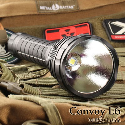Convoy L6 LED FlashlightLED Flashlights<br>Convoy L6 LED Flashlight<br><br>Brand: Convoy<br>Model: L6<br>Lamp Beads: Cree XHP70<br>Emitters Quantity: 1<br>Lumens Range: &gt;3000 Lumens<br>Luminous Flux: 3800LM<br>Feature: Anti-Roll Rugged Design,Cooling Slot of High Efficiency,Die-cast Unibody,Instant Strobe<br>Function: Camping,EDC,Exploring,Hiking,Household Use,Law Enforcement,Night Riding,Rescue,Search,Seeking Survival,Self-defense,Walking<br>Switch Type: Clicky<br>Switch Location: Side Switch,Tail Cap<br>Mode: 5 (Turbo; High; Middle; Low; Strobe)<br>Battery Type: 26650<br>Battery Quantity: 2 x 26650 Battery (not included)<br>Waterproof Standard: IPX-8 Standard Waterproof<br>Power Source: Battery<br>Working Voltage: 5.4-8.4V<br>Reflector: Aluminum Textured Orange Peel Reflector<br>Lens: Toughened Ultra-clear Glass Lens with Anti-reflective Coating<br>Body Material: Aluminium Alloy<br>Available color: Black,Silver<br>Product weight: 0.550 kg<br>Package weight: 0.781 kg<br>Product size (L x W x H): 25.50 x 7.50 x 7.50 cm / 10.04 x 2.95 x 2.95 inches<br>Package size (L x W x H): 28.00 x 9.00 x 9.00 cm / 11.02 x 3.54 x 3.54 inches<br>Package Contents: 1 x Convoy L6 LED Flashlight, 1 x Tactical Ring