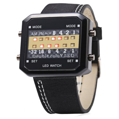 Casual Style Male LED Digital Watch with Nubuck Leather Strap