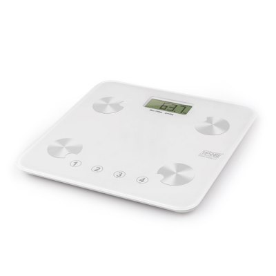 YESHM YHF1431 - WH5 Personal Body Weight ScalesBody Scale<br>YESHM YHF1431 - WH5 Personal Body Weight Scales<br><br>Material: ABS and tempered glass<br>Model: YHF1431 - WH5<br>Package Contents: 1 x Fat Scale, 1 x 3V CR2032 Battery, 1 x English User Manual<br>Package size (L x W x H): 31.00 x 18.00 x 2.50 cm / 12.2 x 7.09 x 0.98 inches<br>Package weight: 1.632 kg<br>Product size (L x W x H): 28.00 x 28.00 x 1.55 cm / 11.02 x 11.02 x 0.61 inches<br>Product weight: 1.140 kg