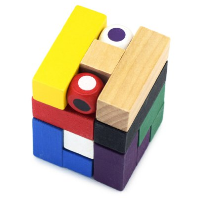 Classic Magic Cube Style Unlock Puzzle Toy Wooden Three-dimensional Jigsaw
