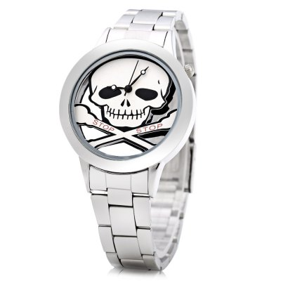 Skull Pattern Lady Quartz Watch with Transparent Dial
