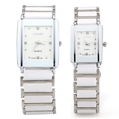 LONGBO 408 Water Resistant Couple WatchesCouples Watches<br>LONGBO 408 Water Resistant Couple Watches<br><br>Brand: Longbo<br>Watches categories: Couple tables<br>Watch style: Casual<br>Available color: White<br>Shape of the dial: Rectangle<br>Movement type: Quartz watch<br>Display type: Analog<br>Case material: Stainless Steel<br>Band material: Ceramic<br>Clasp type: Folding clasp with safety<br>Water resistance : Life water resistant<br>Package weight: 0.134 kg<br>Package size (L x W x H): 22.00 x 3.50 x 3.00 cm / 8.66 x 1.38 x 1.18 inches<br>The male dial dimension (L x W x H): 3.3 x 2.8 x 0.8 cm / 1.30 x 1.10 x 0.31 inches<br>The male watch band dimension (L x W): 20 x 2.3 cm / 7.87 x 0.91 inches<br>The male watch weight: 0.060 kg<br>The male watch size (L x W x H): 20 x 2.8 x 0.8 cm / 7.87 x 1.10 x 0.31 inches<br>The female dial dimension (L x W x H): 2.3 x 1.8 x 0.7 cm / 0.91 x 0.71 x 0.28 inches<br>The female watch band dimension (L x W): 17.6 x 1.6 cm / 6.93 x 0.63 inches<br>The female watch weight: 0.034 kg<br>The female size (L x W x H): 17.6 x 1.8 x 0.7 cm / 6.93 x 0.71 x 0.28 inches<br>Package Contents: 1 x LONGBO 408 Couple Watches