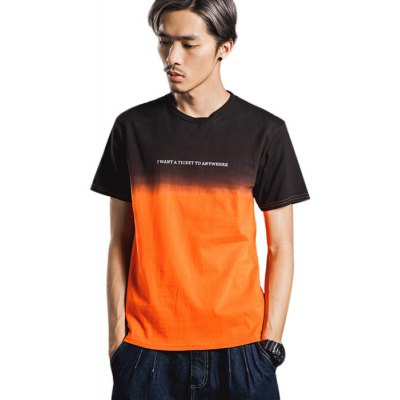 Gradient Color Men Casual Style Pure Cotton T-shirts