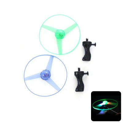 17.5CM Flying Saucer LED Light Spin Pull Frisbee Outdoor Toy for Kid Child