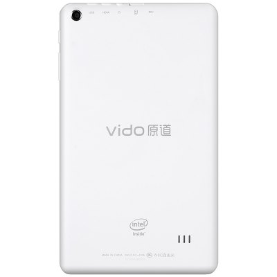 Vido W8C Tablet PCFeatured Tablets<br>Vido W8C Tablet PC<br><br>Brand: Vido<br>Type: Tablet PC<br>OS: Windows 10<br>CPU Brand: Intel<br>CPU: Z3735G<br>GPU: Intel HD Graphic(Gen7)<br>Core: 1.33GHz,Quad Core<br>RAM: 1GB<br>ROM: 16GB<br>External Memory: TF card up to 64GB (not included)<br>Support Network: WiFi<br>WIFI: 802.11b/g/n wireless internet<br>Bluetooth: Yes<br>Screen type: Capacitive,IPS<br>Screen size: 8 inch<br>Screen resolution: 1280 x 800<br>Camera type: Dual cameras (one front one back)<br>Back camera: 5.0MP with AF<br>Front camera: 2.0MP<br>TF card slot: Yes<br>Micro USB Slot: Yes<br>Micro HDMI: Yes<br>3.5mm Headphone Jack: Yes<br>Battery Capacity(mAh): 3.7V/4000mAh<br>AC adapter: 100-240V 5V 2A<br>G-sensor: Supported<br>Skype: Supported<br>Youtube: Supported<br>Speaker: Supported<br>MIC: Supported<br>Picture format: BMP,JPEG,PNG<br>Music format: AAC,MP3,OGG,WAV,WMA<br>Video format: 3GP,MP4,WMV<br>MS Office format: Excel,PPT,Word<br>E-book format: PDF,TXT<br>Pre-installed Language: Windows OS is pre-installed Chinese and English , and other languages need to be downloaded by WiFi<br>Additional Features: Bluetooth,Browser,E-book,Gravity Sensing System,HDMI,MP3,MP4,OTG,Wi-Fi<br>Product size: 21.10 x 12.30 x 0.92 cm / 8.31 x 4.84 x 0.36 inches<br>Package size: 26.00 x 16.00 x 7.00 cm / 10.24 x 6.3 x 2.76 inches<br>Product weight: 0.330 kg<br>Package weight: 0.556 kg<br>Tablet PC: 1<br>OTG Cable: 1