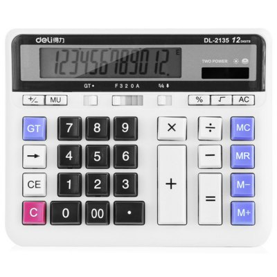 Deli 2135 Solar Powered Desktop Calculator