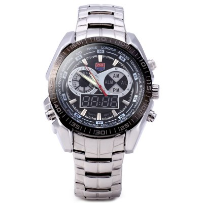 TVG KM - 468 Seal Elite Military LED Sports Watch Dual Movement Analog - Digital Quartz Wrist Watch wtih Luminous Hands Stainless Steel StrapSports Watches<br>TVG KM - 468 Seal Elite Military LED Sports Watch Dual Movement Analog - Digital Quartz Wrist Watch wtih Luminous Hands Stainless Steel Strap<br><br>People: Male table<br>Watch style: Fashion&amp;Casual,LED,Military,Outdoor Sports<br>Shape of the dial: Round<br>Movement type: Digital watch<br>Display type: Analog-Digital<br>Case material: Stainless Steel<br>Band material: Stainless Steel<br>Clasp type: Pin buckle<br>Special features: Alarm Clock,Week<br>Water resistance : 30 meters<br>The dial thickness: 1.9 cm<br>The dial diameter: 4.8 cm<br>Product weight: 0.160 kg<br>Package weight: 0.350 kg<br>Product size (L x W x H): 25.20 x 4.80 x 1.90 cm / 9.92 x 1.89 x 0.75 inches<br>Package size (L x W x H): 11.00 x 10.00 x 7.50 cm / 4.33 x 3.94 x 2.95 inches<br>Package Contents: 1 x Watch, 1 x Gift Box