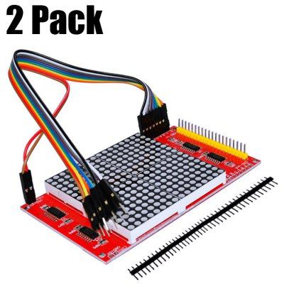 2 Pack 16 x 16 LED Dot Matrix Display Module / 51 Development Board Compatible with 12864 Port