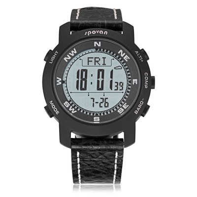 Spovan Bravo 2 Multifunction Digital Mountaineering WatchOther Camping Gadgets<br>Spovan Bravo 2 Multifunction Digital Mountaineering Watch<br><br>Color: Black,Black + White<br>Package Contents: 1 x Spovan Bravo 2 Multifunctional Mountaineering Watch, 1 x Case, 1 x English Manual<br>Package Size(L x W x H): 11.00 x 9.00 x 8.20 cm / 4.33 x 3.54 x 3.23 inches<br>Package weight: 0.249 kg<br>Product Size  ( L x W x H ): 4.55 x 4.55 x 1.37 cm / 1.79 x 1.79 x 0.54 inches<br>Product weight: 0.082 kg