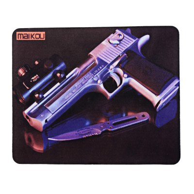 Maikou Cartoon Gun Style Mouse PadMouse<br>Maikou Cartoon Gun Style Mouse Pad<br><br>Brand: Maikou<br>Color: Black<br>Material: Rubber<br>Package Contents: 1 x Maikou Cartoon Gun Style Mouse Pad<br>Package size (L x W x H): 23.00 x 19.00 x 1.20 cm / 9.06 x 7.48 x 0.47 inches<br>Package weight: 0.081 kg<br>Product size (L x W x H): 22.00 x 18.00 x 0.20 cm / 8.66 x 7.09 x 0.08 inches<br>Product weight: 0.060 kg<br>Type: Mouse Pad