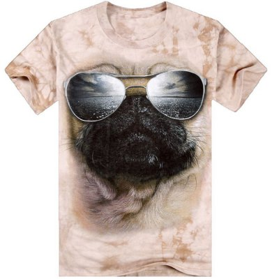3D Glasses Dog Pattern Men T-shirt Personality Short-sleeve Tie-dye Tee