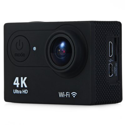H9 Ultra HD 4K Action CameraAction Cameras<br>H9 Ultra HD 4K Action Camera<br><br>Model: H9<br>Type: Sports Camera<br>Chipset Name: Sunplus<br>Chipset: Sunplus 6350<br>Max External Card Supported: TF 64G (not included)<br>Class Rating Requirements: Class 10 or Above<br>Screen size: 2.0inch<br>Screen type: LCD<br>Battery Type: Removable<br>Capacity: 1050mAh<br>Charge way: USB charge by PC<br>Working Time: 1.5 hours (1080P at 30fps), 1 hour (1080P at 60fps), 40 minutes (4K at 10fps)<br>Wide Angle: 170 degree wide angle<br>Camera Pixel : 4.0 megapixel<br>Decode Format: H.264<br>Video format: MOV<br>Video Resolution: 1080P (1920 x 1080),2.7K (2704 x 1524),4K (4096 x 2160)<br>Video Output : HDMI<br>Image Format : JPEG<br>Exposure Compensation: +0.3,+0.7,+1,+1.3,+1.7,+2,-0.3,-0.7,-1,-1.3,-1.7,-2,0<br>White Balance Mode: Auto<br>Scene: Auto<br>WIFI: Yes<br>WiFi Function: Image Transmission,Remote Control,Settings,Sync and Sharing Albums<br>WiFi Distance : 10m<br>Waterproof: Yes<br>Water Resistant: 30m underwater<br>Loop-cycle Recording : Yes<br>Loop-cycle Recording Time: 15min,OFF<br>HDMI Output: Yes<br>Time Stamp: Yes<br>Language: Cesky,Dutch,English,French,German,Italian,Japanese,Korean,Polski,Portuguese,Russian,Simplified Chinese,Spanish,Turkish<br>Frequency: 50Hz,60Hz,Auto<br>Product weight: 0.065 kg<br>Package weight: 0.570 kg<br>Product size (L x W x H): 6.00 x 3.20 x 4.10 cm / 2.36 x 1.26 x 1.61 inches<br>Package size (L x W x H): 27.00 x 18.00 x 7.00 cm / 10.63 x 7.09 x 2.76 inches<br>Package Contents: 1 x H9 4K Action Camera, 1 x Waterproof Housing, 1 x Handlebar Pole Mount, 1 x Base Mount with Long Screw, 1 x J-Shaped Mount, 1 x Tripod Mount Adapter, 3 x Connector with Screw, 1 x Mount Adapter, 1