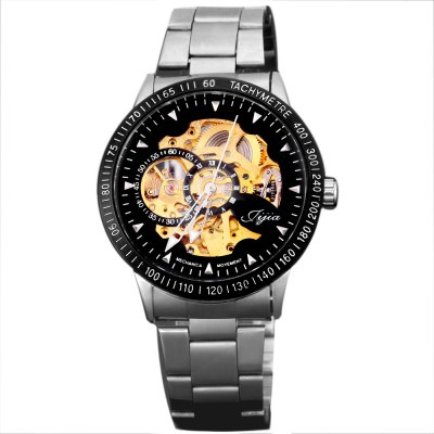 Mechanical Watches with  Hollow out Round Dial Design and Steel BandMechanical Watches<br>Mechanical Watches with  Hollow out Round Dial Design and Steel Band<br><br>Watches categories: Male table<br>Watch style: Fashion<br>Available color: Black<br>Movement type: Mechanical watch<br>Shape of the dial: Round<br>The bottom of the table: Gone<br>Case material: Metal<br>Case color: Black<br>Band material: Steel<br>Clasp type: Buckle<br>Band color: Silver<br>The dial thickness: 1.2 cm<br>The dial diameter: 4.3 cm<br>Product weight: 0.102 kg<br>Package weight: 0.135 kg<br>Product size (L x W x H): 23.80 x 4.30 x 2.20 cm / 9.37 x 1.69 x 0.87 inches<br>Package size (L x W x H): 10.00 x 4.00 x 1.00 cm / 3.94 x 1.57 x 0.39 inches<br>Package Contents: 1 x Watch