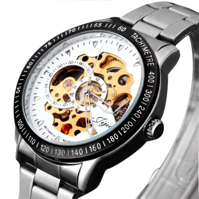 Mechanical Watches with  Hollow out Round Dial Design and Steel Band