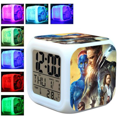 7 Color Change Anime Pattern Digital Alarm Clock LED Night Light Anime Product Children Birthday Gift