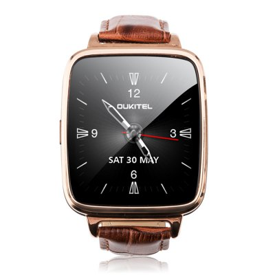 OUKITEL A28 Smart WatchSmart Watches<br>OUKITEL A28 Smart Watch<br><br>Brand: OUKITEL<br>Built-in chip type: MTK2502<br>Bluetooth Version: Bluetooth 4.0<br>Waterproof Rating : Life water resistance<br>Bluetooth calling: Dialing,Phone call reminder,Phonebook,Call log sync,Answering<br>Messaging: Message reminder,Message checking<br>Health tracker: Heart rate monitor,Sedentary reminder,Sleep monitor,Pedometer<br>Remote Control: Camera remote,Music remote<br>Notification: Yes<br>Find phone: Yes<br>Other Functions: Calender,Alarm,Calculator,Voice recorder<br>Groups of alarm: 5 sets<br>Alert type: Ring,Vibration<br>Locking screen : 4 kinds<br>Screen: IPS<br>Screen resolution: 240 x 240 px<br>Screen size: 1.54 inch<br>Battery Type: Li-polymer battery<br>Battery Capacity: 250mAh<br>Standby time: About 100 hours<br>People: Unisex watch<br>Bluetooth working range: About 10m<br>Shape of the dial: Rectangle<br>Case material: Stainless Steel<br>Band material: Genuine Leather<br>Compatible OS: Android,IOS<br>Compatability: Android 4.4 / iOS 7.0 and above system<br>Language: English,French,Spanish,Portuguese,Russian,German,Italian,Polish,Turkish,Indonesian,Arabic,Persian,Thai,Swedish,Finnish<br>Available Color: Gold,Silver<br>Dial size: 4.8 x 4.0 x 1.2 cm / 1.89 x 1.57 x  0.47 inches<br>Wearing diameter: 20 - 24.8 cm / 7.87 - 9.76 inches<br>The band width: 1.8 cm / 0.71 inches<br>Product size (L x W x H): 27.00 x 4.00 x 1.20 cm / 10.63 x 1.57 x 0.47 inches<br>Package size (L x W x H): 9.20 x 9.20 x 7.70 cm / 3.62 x 3.62 x 3.03 inches<br>Product weight: 0.058 kg<br>Package weight: 0.253 kg<br>Package Contents: 1 x OUKITEL A28 Smart Watch, 1 x Chinese and English Manual, 1 x Charging Cable, 1 x Charging Dock, 1 x Box