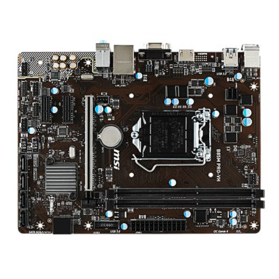 MSI B85M PRO - VH Micro ATX MotherboardMotherboards<br>MSI B85M PRO - VH Micro ATX Motherboard<br><br>Channel Support: Dual Channel<br>Chip-set Manufacturer: Intel<br>CPU Socket Type: LGA 1150<br>Form Factor: Micro ATX<br>HDMI: Yes<br>Interface: USB2.0, USB 3.1, SATA III, SATA II, RJ45, PS/2, HDMI, VGA<br>LAN Chipset: Realtek 8111G<br>Max. Memory: 16GB<br>Memory Type: DDR3<br>Model: B85M PRO - VH<br>North Bridge Chip: Intel B85 Express<br>Package Contents: 1 x MSI B85M PRO - VH Micro ATX Motherboard<br>Package size: 25.10 x 19.30 x 6.00 cm / 9.88 x 7.6 x 2.36 inches<br>Package weight: 1.070 kg<br>PCI-E X1 Slot : 2<br>PCI-E X16 Slot: 1<br>Power Supply Type: 4 Phase<br>Product size: 23.10 x 17.30 x 4.00 cm / 9.09 x 6.81 x 1.57 inches<br>Product weight: 0.900 kg<br>Type: Motherboards