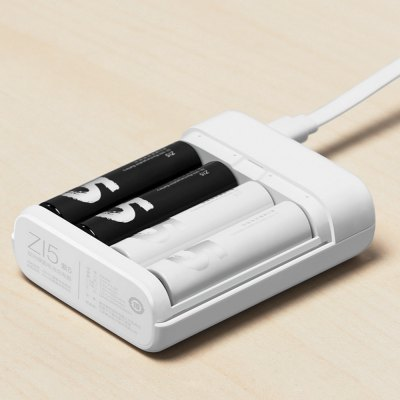 Xiaomi ZI5 / ZI7 AA AAA Ni-MH USB Battery ChargerChargers<br>Xiaomi ZI5 / ZI7 AA AAA Ni-MH USB Battery Charger<br><br>Brand: Xiaomi<br>Type: Charger<br>Model: ZI5 / ZI7<br>Plug: USB<br>Charging Cell Type: Ni-MH<br>Compatible: AA,AAA<br>Rechargeable Battery Qty: 4<br>Input Voltage: DC 5V<br>Output Voltage: DC 5V / 1A; USB output: 5V / 0.5? (1.5V AA: 550mA x 4 ; 1.5V AA?225mA x 4)<br>Circuit Detection: Yes<br>Protected Circuit: Yes<br>Reverse Polarity Protection: Yes<br>Over Voltage Protection: Yes<br>Short Circuit Protection: Yes<br>Over Charging Protection: Yes<br>Over Discharging Protection: Yes<br>Product weight: 0.058 kg<br>Package weight: 0.100 kg<br>Product size (L x W x H): 7.70 x 6.30 x 2.45 cm / 3.03 x 2.48 x 0.96 inches<br>Package size (L x W x H): 9.00 x 9.00 x 8.50 cm / 3.54 x 3.54 x 3.35 inches<br>Package Contents: 1 x Xiaomi ZI5 / ZI7  Ni-MH Battery Charger