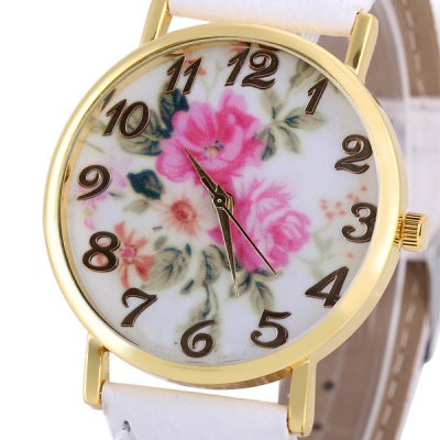 Womage 1089 - 6 Leather Watch Band Female Quartz Watch Time Showed by Arabic Numerals and Round Dial