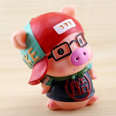 Cute Saving Pot Money Box Glasses Pig Model Toy for Kid Child cute resin saving pot money box cat cartoon figure toy for home decoration