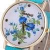 Geneva Quartz Watch Golden Plate Analog Indicate Leather Watch Band Rose Pattern for Women deal