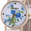 cheap Geneva Quartz Watch Golden Plate Analog Indicate Leather Watch Band Rose Pattern for Women