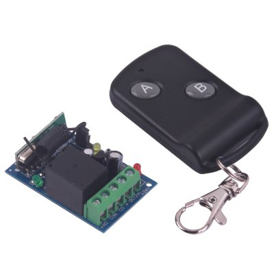 High Quality One Channel DC12V Wireless Remote Control Switch  -  Black 2 Keys