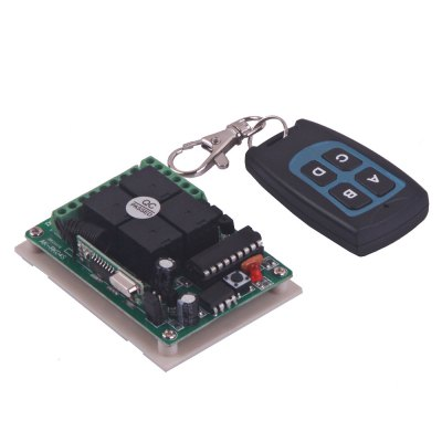 DC12V 4 Channels Wireless Remote Control Switch with 4 Buttons - Black + Blue