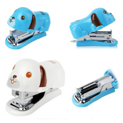 Deli 0455 Cute Cartoon Pug Mini Stapler with Boxed Staples Stationery