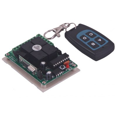 Practical DC12V Four Channels Wireless Remote Control Switch Security System with 2 Buttons  -  Black + Blue