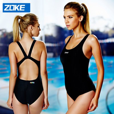 ZOKE Female Pure Color U-neck Jumpsuit Swimwear