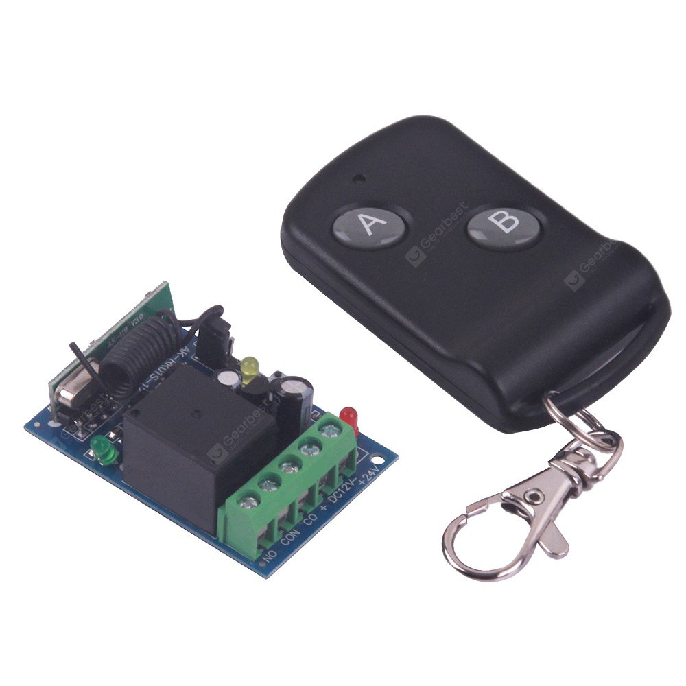 High Quality One Channel DC12V Wireless Remote Control Switch - Black 2 Keys 102165201