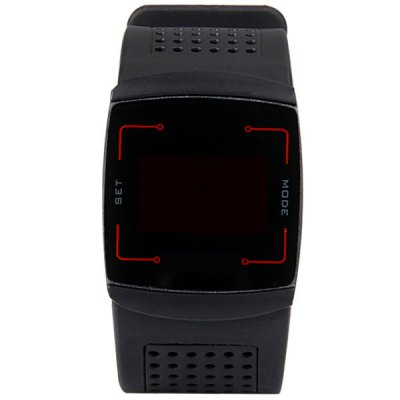 Superb Touch Control Design LED Wrist Watch with Rectangle Dial and Porous Rubber BandSports Watches<br>Superb Touch Control Design LED Wrist Watch with Rectangle Dial and Porous Rubber Band<br><br>People: Male table<br>Watch style: LED<br>Available color: Black<br>Shape of the dial: Rectangle<br>Movement type: Quartz watch<br>Display type: Numbers<br>Case material: Metal<br>Band material: Rubber<br>Clasp type: Pin buckle<br>Special features: 24 hours of instruction<br>The dial thickness: 1.2 cm / 0.5 inch<br>The dial diameter: 3.8 cm / 1.5 inch<br>The band width: 3.2 cm / 1.3 inch<br>Product weight: 0.076 kg<br>Package weight: 0.126 kg<br>Product size (L x W x H): 25.30 x 3.80 x 1.20 cm / 9.96 x 1.5 x 0.47 inches<br>Package size (L x W x H): 26.30 x 4.80 x 2.20 cm / 10.35 x 1.89 x 0.87 inches<br>Package Contents: 1 x Watch