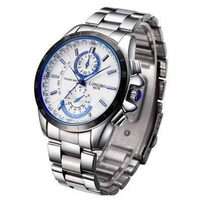 LONGBO 1035 Male Quartz WatchMens Watches<br>LONGBO 1035 Male Quartz Watch<br><br>Brand: Longbo<br>Watches categories: Male table<br>Watch style: Casual,Fashion<br>Available color: Black,White<br>Movement type: Quartz watch<br>Watch mirror: Mineral glass<br>Shape of the dial: Round<br>Display type: Analog<br>Case material: Alloy<br>Band material: Alloys<br>Clasp type: Folding clasp with safety<br>Special features: Decorative sub-dial<br>Water resistance : Life water resistant<br>Dial size: 4.04 x 1.17 cm / 1.59 x 0.46 inches<br>Band size: 24.5 x 1.94 cm / 9.65 x 0.76 inches<br>Product weight: 0.105 kg<br>Package weight: 0.140 kg<br>Product size (L x W x H): 24.50 x 4.04 x 1.17 cm / 9.65 x 1.59 x 0.46 inches<br>Package size (L x W x H): 25.50 x 5.04 x 2.17 cm / 10.04 x 1.98 x 0.85 inches<br>Package Contents: 1 x LONGBO 1035 Men Quartz Watch
