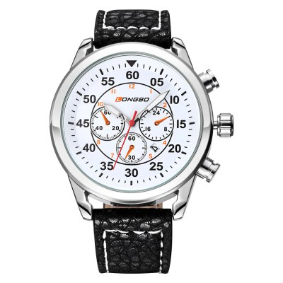 LONGBO 1036 Male Quartz WatchMens Watches<br>LONGBO 1036 Male Quartz Watch<br><br>Brand: Longbo<br>Watches categories: Male table<br>Watch style: Casual,Fashion<br>Watch color: White and Gold, Black and Gold, White and Silver, Black and Silver<br>Movement type: Quartz watch<br>Watch mirror: Mineral glass<br>Shape of the dial: Round<br>Display type: Analog<br>Case material: Alloy<br>Band material: Genuine Leather<br>Clasp type: Pin buckle<br>Special features: Date,Decorative sub-dial<br>Water resistance : Life water resistant<br>Dial size: 4.49 x 1.16 cm / 1.77 x 0.46 inches<br>Band size: 25.4 x 2.1 cm / 10 x 0.82 inches<br>Product weight: 0.070 kg<br>Package weight: 0.130 kg<br>Product size (L x W x H): 25.40 x 4.49 x 1.16 cm / 10 x 1.77 x 0.46 inches<br>Package size (L x W x H): 26.40 x 5.49 x 2.16 cm / 10.39 x 2.16 x 0.85 inches<br>Package Contents: 1 x LONGBO 1036 Male Quartz Watch