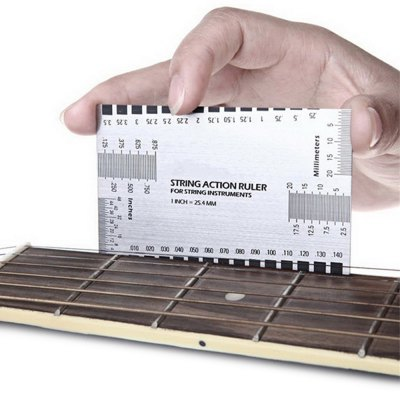 Acoustic Electric Guitar String Action Ruler Gauge Steel Luthier Tool Setup in / mm for Guitar Bass от GearBest.com INT