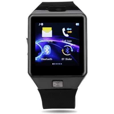 DZ09D Single SIM Smart Watch PhoneSmart Watch Phone<br>DZ09D Single SIM Smart Watch Phone<br><br>Additional Features: 2G, MP3, Calendar, Bluetooth, Alarm, People, Sound Recorder, Notification<br>Battery: 1 x 380mAh<br>Bluetooth: Yes<br>Bluetooth Version: V3.0<br>Camera type: Single camera<br>Cell Phone: 1<br>Compatible OS: Android<br>CPU: MTK6261<br>English Manual : 1<br>External Memory: TF card up to 32GB (not included)<br>Frequency: GSM850/900/1800/1900MHz<br>Front camera: 0.057MP<br>Functions: Pedometer, Sedentary reminder, Sleep monitoring<br>Languages: English, Italian, German, Spanish, French, Polish, Portuguese, Arabic, Persian<br>Network type: GSM<br>Package size: 11.00 x 11.00 x 9.00 cm / 4.33 x 4.33 x 3.54 inches<br>Package weight: 0.2500 kg<br>Product size: 4.35 x 4.00 x 0.98 cm / 1.71 x 1.57 x 0.39 inches<br>Product weight: 0.0510 kg<br>RAM: 32MB<br>ROM: 32MB<br>Screen resolution: 240 x 240<br>Screen size: 1.54 inch<br>SIM Card Slot: Single SIM(Micro SIM slot)<br>Speaker: Supported<br>TF card slot: Yes<br>Type: Watch Phone<br>USB Cable: 1<br>Wireless Connectivity: Bluetooth