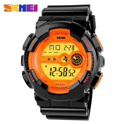 Skmei 1026 LED Sports Military Watch 50M Waterproof Japan Movtz Week Date Display WristwatchSports Watches<br>Skmei 1026 LED Sports Military Watch 50M Waterproof Japan Movtz Week Date Display Wristwatch<br><br>Brand: Skmei<br>People: Unisex table<br>Watch style: Fashion&amp;Casual,LED,Military,Outdoor Sports<br>Available color: Green,Orange<br>Shape of the dial: Round<br>Movement type: Digital watch<br>Display type: Numbers<br>Band material: PVC Plastic<br>Clasp type: Pin buckle<br>Special features: Date,Day,Stopwatch,Week<br>Water resistance : 50 meters<br>Battery Type: CR2025<br>The dial thickness: 1.5 cm / 0.6 inches<br>The dial diameter: 4.5 cm / 1.8 inches<br>The band width: 2.2 cm / 0.9 inches<br>Product weight: 0.060 kg<br>Package weight: 0.110 kg<br>Product size (L x W x H): 26.20 x 4.50 x 1.50 cm / 10.31 x 1.77 x 0.59 inches<br>Package size (L x W x H): 27.20 x 5.50 x 2.50 cm / 10.71 x 2.17 x 0.98 inches<br>Package Contents: 1 x Watch