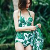 Free Style Three-piece Pattern Halter Bikini Set for Women
