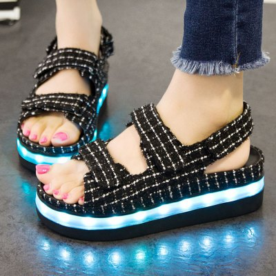 USB Charging Flashing LED ShoesSandals<br>USB Charging Flashing LED Shoes<br><br>Gender: Women<br>Package Content: 1 x Pair of LED Flashing Sandals, 1 x USB Cable<br>Package size: 30.00 x 20.00 x 9.00 cm / 11.81 x 7.87 x 3.54 inches<br>Package weight: 0.530 kg<br>Product weight: 0.350 kg<br>Size: 37,38,39,40