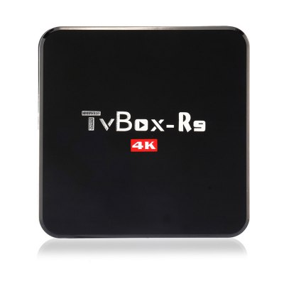 TV Box-R9 Android TV Box 4K HD 64BitTV Box &amp; Mini PC<br>TV Box-R9 Android TV Box 4K HD 64Bit<br><br>Antenna: No<br>Audio format: AC3, TrueHD, OGG, MP3, WAV, HD, FLAC, APE, DTS, DDP, AAC, WMA<br>Color: Black<br>Core: Quad Core, Cortex A7<br>CPU: RK3229<br>Decoder Format: Xvid/DivX3/4/5/6, RM/RMVB, HD MPEG1/2/4, H.264, H.265, HD AVC/VC-1, RealVideo8/9/10<br>GPU: Mali-400<br>Interface: SD Card Slot, USB2.0, SPDIF, HDMI, DC 5V, AV, RJ45<br>Language: Multi-language<br>Model: TV Box-R9<br>Package Contents: 1 x TV Box-R9 TV Box, 1 x IR Remote Control, 1 x HDMI Cable, 1 x Power Adapter, 1 x English Manual<br>Package size (L x W x H): 20.00 x 15.10 x 5.00 cm / 7.87 x 5.94 x 1.97 inches<br>Package weight: 0.4700 kg<br>Photo Format: BMP, PNG, JPEG, GIF, TIFF<br>Power Adapter Output: 5V 2A<br>Power Input Vol: 5V<br>Power Supply: Charge Adapter<br>Power Type: External Power Adapter Mode<br>Product size (L x W x H): 12.30 x 12.30 x 2.50 cm / 4.84 x 4.84 x 0.98 inches<br>Product weight: 0.2300 kg<br>RAM: 1G<br>RAM Type: DDR3<br>ROM: 8G<br>System: Android 5.1<br>System Bit: 32Bit<br>Type: TV Box<br>Video format: ASF, AVI, VOB, TS, RMVB, RM, MPEG, MOV, MKV, MPG, ISO, FLV, DAT, WMV<br>WIFI: IEEE 802.11 b/g/n